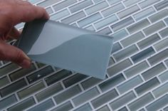 "Amazon.com: SAMPLE of Arctic Blue Grey 3"" x 6"" Glass Subway Tile for Kitchen Backsplash or Bathroom: Home Improvement"