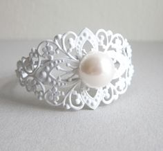 White Lace Bracelet with Pearls Heirloom Style Elegant Chic Classy Mothers Day Gift Bridal Jewelry