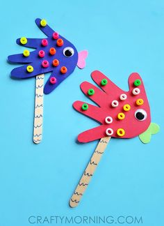 Handprint Fish Puppets craft for kids to make! - Crafty Morning