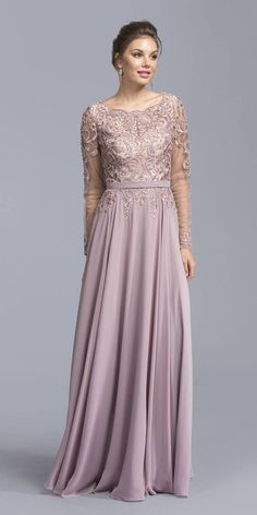 Mauve Floor Length Formal Dress with Embroidered Poncho Mauve Long Sleeve Embroidered Long Formal Dr Long Mothers Dress, Mother Of The Bride Gown, Mother Of Groom Dresses, Mothers Dresses, Formal Gowns With Sleeves, Formal Dresses Long Elegant, Evening Gowns With Sleeves, Mermaid Prom Dresses Lace, Simple Gowns