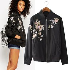 2015 New Arrival Autumn Fall Clothes Women Black Floral Bomber Jacket Sport  Jackets Casual Flower Embroidered e7d1c1026b7