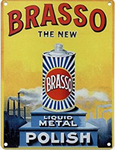 Brasso - The New Liquid Metal Polish - Mini Metal Wall Sign