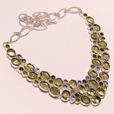 925 Sterling silver green amethyst+amethyst+bt+peridot Necklace f104 89gm #Handmade #Necklace