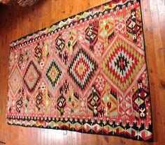 türkischer Kelim-Teppich, Jahrgang Kelim-Teppich, anatolische Kelim, handgewebter Teppich NK025