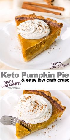 Low Carb Keto Pumpkin Pie This Keto Low Carb Pumpkin Pie recipe is going to knock your socks off on how divine it tastes and easy to make. Tastes as good (if not better) than a classic pumpkin pie. Your guests won't be disappointed! Desserts Keto, Easy Desserts, Dessert Recipes, Breakfast Recipes, Breakfast Hash, Breakfast Casserole, Banting Breakfast, Breakfast Ideas, Ketogenic Recipes