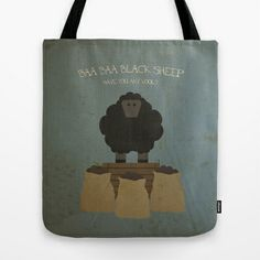 Baa Baa Black Sheep. Children's Nursery Rhyme Inspired Artwork. Tote Bag by Dan Howard - $22.00 #artwork #design #photography