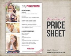 photography price sheet template photography by sugarfliesdesigns