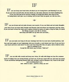 IF by Rudyard Kipling 1895 on Ivory Linen by Desiderata Gallery Tips To Be Happy, Cool Photos, Interesting Photos, Desiderata, If Rudyard Kipling, Trust Yourself, Poetry, Treats, How To Make