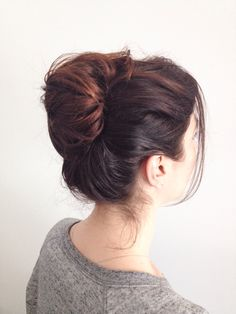 Brown hair messy bun