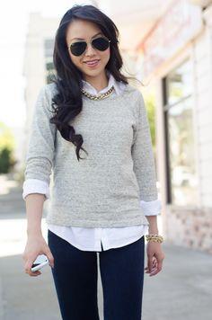 Sweater over a collard shirt // The Fancy Pants Report