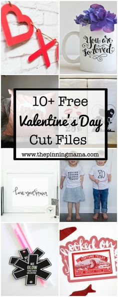 10 Free Valentines Silhouette Cut Files - Perfect for Valentine's day crafts for kids or adults!  Cute shirts, pillow, decor, and class valentines to make!