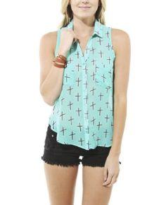Wet Seal Women's Sleeveless Cross Shirt