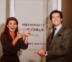 Remington Steele - Laura (Stephanie Zimbalist) and Remington  (Pierce Brosnan)