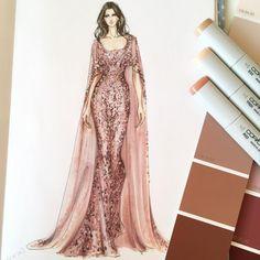 Dress Design Sketches, Fashion Design Sketchbook, Fashion Design Drawings, Fashion Sketches, Moda Fashion, Fashion Art, Fashion Models, Fashion Trends, Paper Fashion
