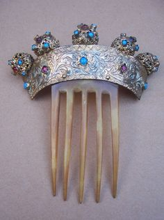 Victorian Hair Comb with Faux Turquoise and Garnet Hair Accessory.