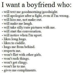 I want a boyfriend I can rely on to be there.  I want a boyfriend who can communicate with me. I want a boyfriend who can admit when he's wrong and take responsibility for his actions.  I want a boyfriend who would be proud to be with me instead of hiding me.  I want a boyfriend that I can say is also my bestfriend.