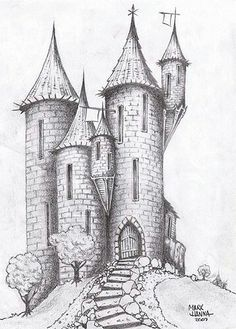 Castle Sketch Drawing - Castle On The Hill By Deviantart Com On Deviantart 1000 Castle Drawing Stock Images Photos Vectors Shutterstock Kastelenimpressie Ontwerp V. Castle Sketch, Castle Drawing, Castle Painting, House Drawing, Landscape Pencil Drawings, Pencil Art Drawings, Art Drawings Sketches, Sketch Drawing, Medieval Drawings