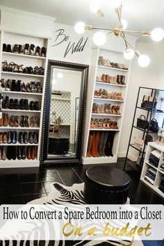 How to convert a spare bedroom into a closet with Ikea Billy bookcase hack and b. How to convert a spare bedroom into a closet with Ikea Billy bookcase hack and black, white, and gold decor Spare Room Closet, Spare Bedroom Closets, Closet Office, Dream Closets, Diy Bedroom, Bedroom Black, Bedroom Storage, Baby Storage, Ikea Storage