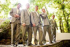 Garden Wedding Venu | Gray Groomsmen Suits - Photo: Mandy Whitley