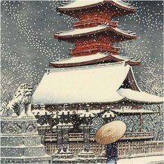 by Hasui Kawase-Neige au sanctuaire de Ueno Toshogu 1929 Culture Art, Art Asiatique, Art Japonais, Japanese Painting, Art Graphique, Japanese Prints, Japan Art, Woodblock Print, Chinese Art