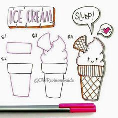 Draw ice cream step by step