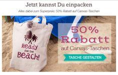 Pack die Badehose ein! Und alles andere, was Du für den perfekten Tag am Strand so brauchst. Die praktische Canvas-Tasche wird mit Deinem Foto, Lieblingsspruch oder einem unserer originellen Designs zu Deinem persönlichen Sommer-Lieblingsteil. Spare 50% mit folgendem Gutschein: Gutscheincode: CANVAS50  Gültig bis 26.06.2014 Jetzt gestalten auf http://www.t-shirt-mit-druck.de/strandtasche-selbst-gestalten-bedrucken.htm