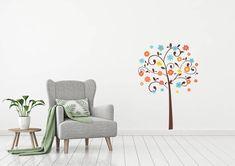 Tree and flowers ~ Kidz 'n Clan Decor Wall Stickers Kids Wall Decals, Wall Stickers, World Map With Countries, Kids World Map, Flower Branch, Tree Wall, Custom Design, How To Apply, Wall Decor