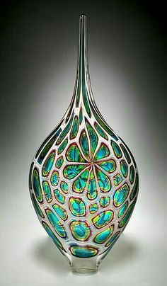 With a nod to the colors and shapes of my childhood, this is a funky, fabulous, and fantastic piece. **Lime/Aqua/Hyacinth Resistenza: David Patchen: Art Glass Vessel - Artful Home Glass Vessel, Glass Ceramic, Mosaic Glass, Fused Glass, Stained Glass, Blown Glass Art, Art Of Glass, Glass Bottles, Perfume Bottles