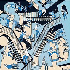 Escher like skate art by Phil Hackett - Hackett Illustration Skateboard Mag, Skateboard Design, Skateboard Fashion, Skate Ramp, Skate Decks, Skate Long, Skater Tattoos, Hugh Holland, Web Design