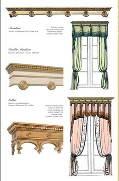 Curtain Patterns, Curtain Designs, Curtains With Blinds, Window Curtains, Traditional Curtains, Window Cornices, Cathedral Architecture, Luxury Curtains, Pelmets