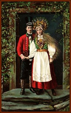 A Swedish woman with long blonde hair holds the hand of a young man in a top hat and a red Swedish Fashion, Folk Fashion, Lund, Norwegian Wedding, Norwegian Vikings, Swedish Women, Wedding Postcard, Folk Clothing, Folk Costume