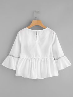 Flower Embroidery Ruffle Top -SheIn(Sheinside)