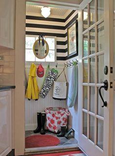 Black & White Stripe Mudroom