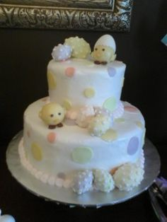 Easter Birthday Cake...little chicks are suckers covered in fondant.  Eggs are made with sugar.