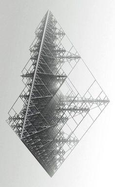 Recursive structure / object in recursive geometry, fractals Geometry Art, Sacred Geometry, Fractal Geometry, Art Génératif, Generative Kunst, Inspiration Drawing, Design Inspiration, Illustration, Geometric Shapes