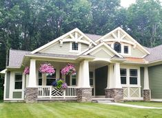 Modern craftsman exterior craftsman house exterior contemporary craftsman s Craftsman Exterior, Craftsman Style Homes, Craftsman House Plans, Modern Craftsman, Craftsman Columns, Craftsman Bungalows, The Plan, How To Plan, Style At Home