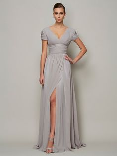 A-Line/Princess V-neck Short Sleeves Long Chiffon Mother of the Bride Dresses Young Mother Of The Bride, Mother Of The Bride Dresses Long, Mothers Dresses, Mother Bride, Dress With Shawl, I Dress, Dress Long, Designer Evening Dresses, Groom Outfit