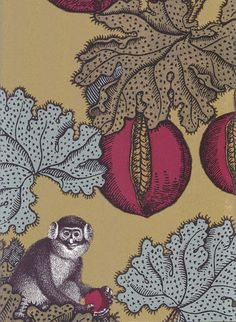 Frutto Proibito Wallpaper A Fornasetti wallpaper depicting monkeys hiding in a pomegranate tree, in brown, tan, and plum on a shiny gold background