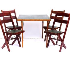 Vintage / Antique Wood Folding Table and Chairs with Dark Cherry Wood and Green Leather by ThirdShift - Perfect Garden Party Decor, Wedding Table and Chairs Set, Patio or Deck Chairs, Family Game Room Table and Chairs