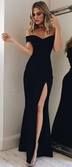 #winter #outfits black sweetheart-neck off-shoulder side-split dress