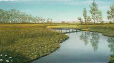 Dyke Marsh foot bridge along the Potomac, pastel on rag paper.