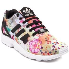 Womens adidas ZX Flux Athletic Shoe ($90) ❤ liked on Polyvore featuring shoes, athletic shoes, lace up shoes, sports footwear, laced up shoes, floral shoes and sport shoes