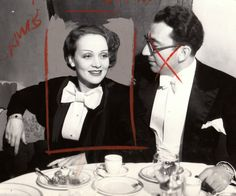 Marlene Dietrich at a farewell party before leaving for Europe, with Rouben Mamoulian. May 1933.