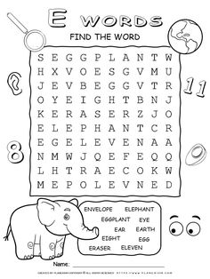 Word Search Puzzle - Words That Start With E - Ten Words   Planerium Free Word Search Puzzles, Free Printable Word Searches, Second Grade Games, E Words, Educational Games, Writing Skills, Free Printables, Coloring Pages, Reading
