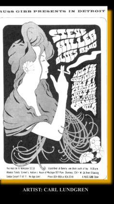 original vintage music concert posters - Steve Miller Blues Band at Grande Ballroom by Carl Hippie Posters, Rock Posters, Band Posters, Music Posters, Event Posters, Festival Posters, Concert Posters, Psychedelic Music, Vintage Music