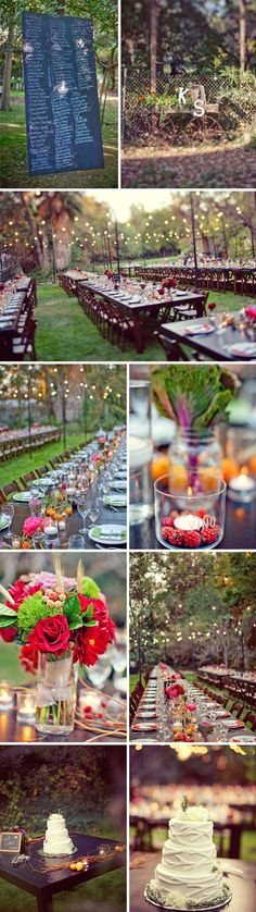 Chunky wood tables and matching chairs rounded out the look of a fancy and cozy backyard dinner. We placed curly willow down the center of the tables to create the look of a natural runner. Mason jars and tiny bud vases held bright peonies, dahlias, kale, roses, and other fun florals. We also placed fruit and a bunch of candles on the tables for a warm and lush decor feel.