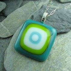 Fused Glass Bullseye Pendant in Teal, Lime, White & Turquoise