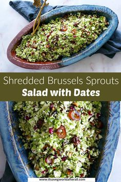 This delicious and festive Shredded Brussels Sprouts Salad features sliced dates, pomegranate arils, and toasted pine nuts, all dressed up in a simple, three ingredient dressing. It's a great dish for Christmas, Thanksgiving, or even a weeknight meal! Healthy Brussel Sprout Recipes, Shredded Brussel Sprout Salad, Healthy Vegetable Recipes, Sprouts Salad, Vegetable Side Dishes, Brussels Sprouts, Vegetarian Recipes, Easy Delicious Dinner Recipes, Easy Salads