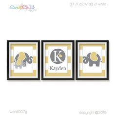 Baby Elephant Nursery Art Safari Nursery by SweetChildDesignsFL