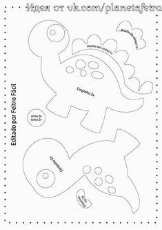 Disclosure of felt templates, tutorials, ideas and inspirations! Felt Animal Patterns, Stuffed Animal Patterns, Felt Crafts, Paper Crafts, Sewing Crafts, Sewing Projects, Felt Templates, Dinosaur Pattern, Dinosaur Birthday